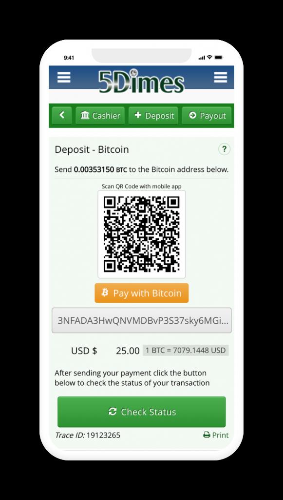 5Dimes bonus Deposit Screen