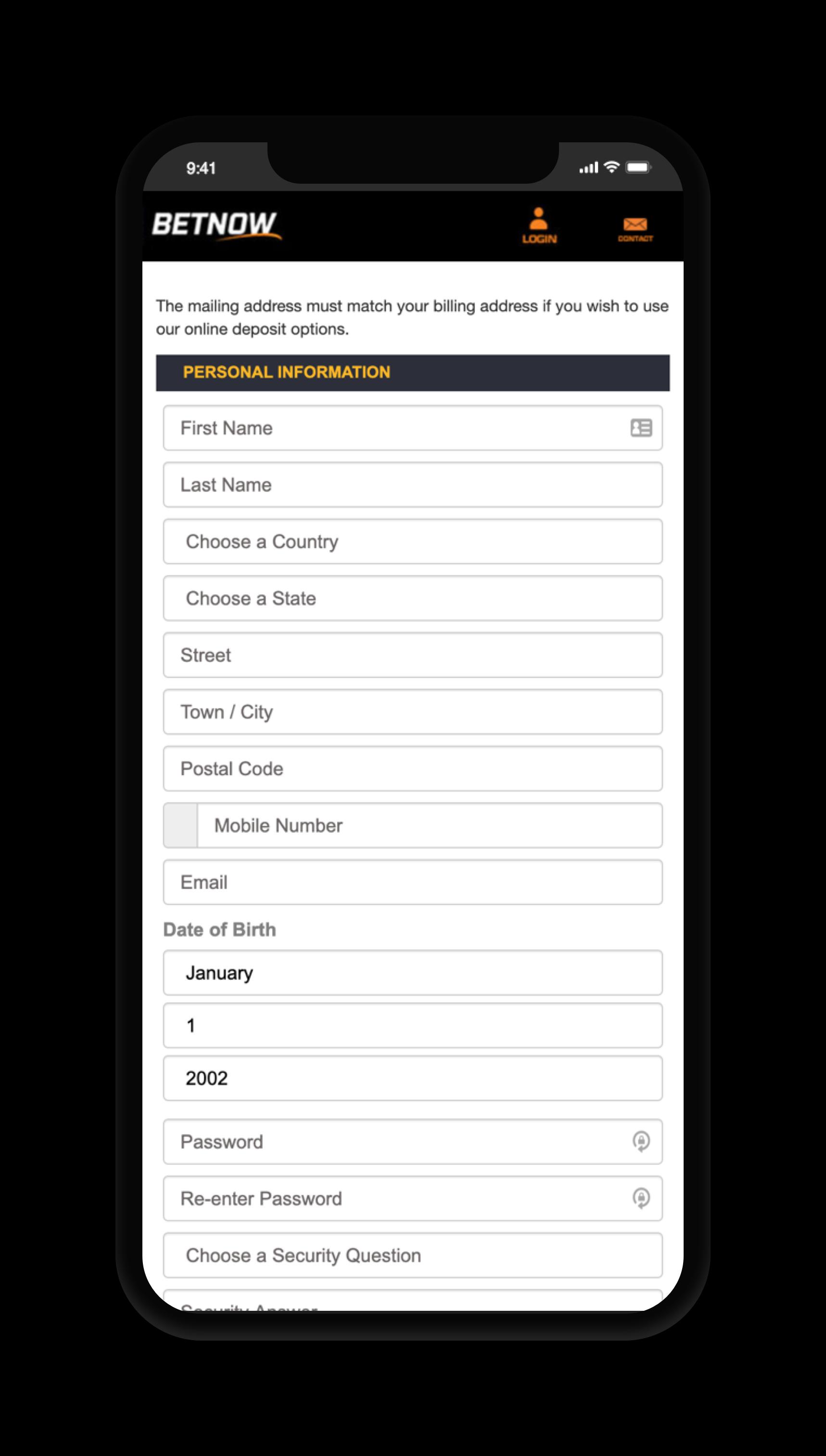 BetNow Account Screen