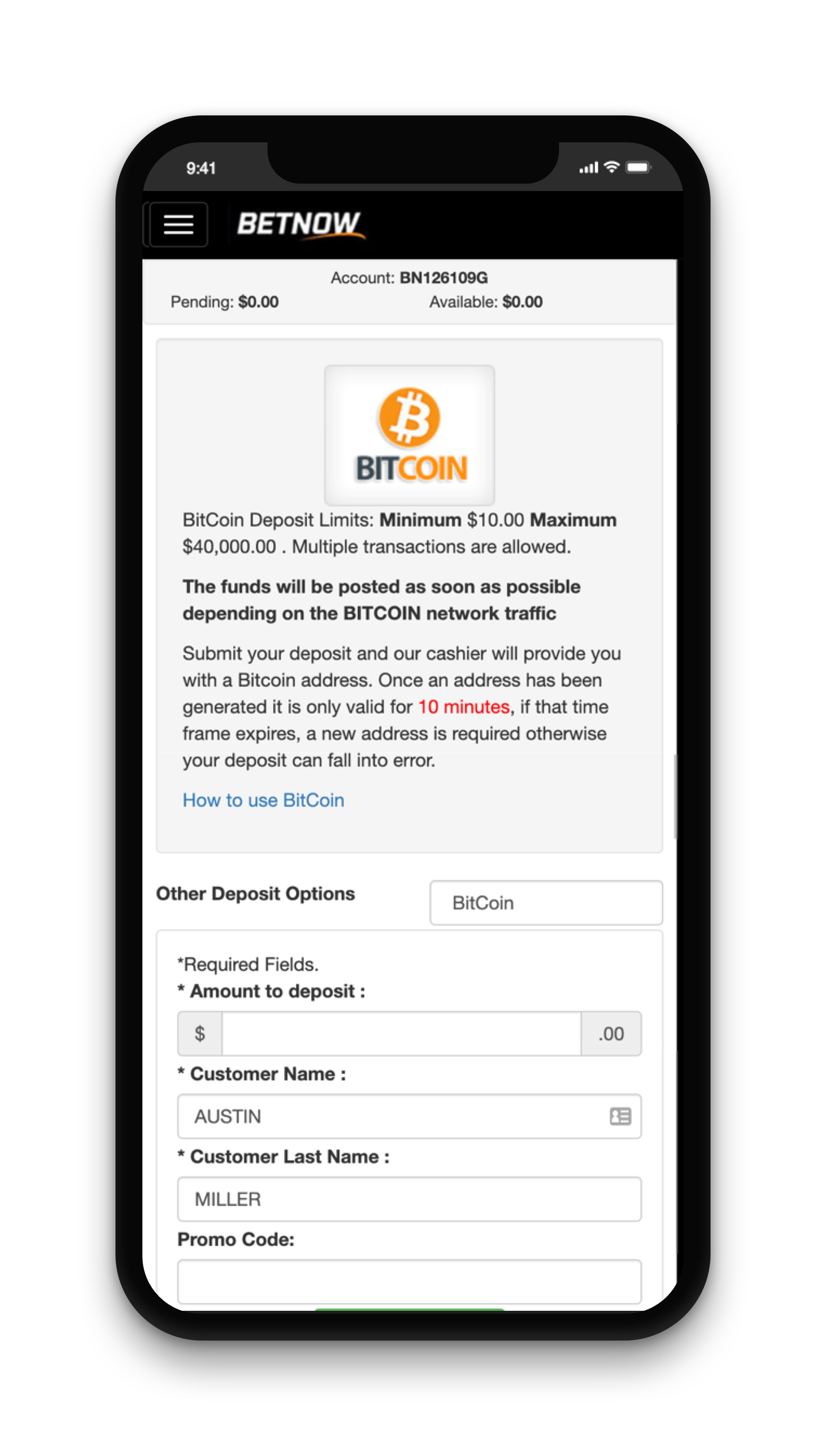 BetNow Deposit Screen