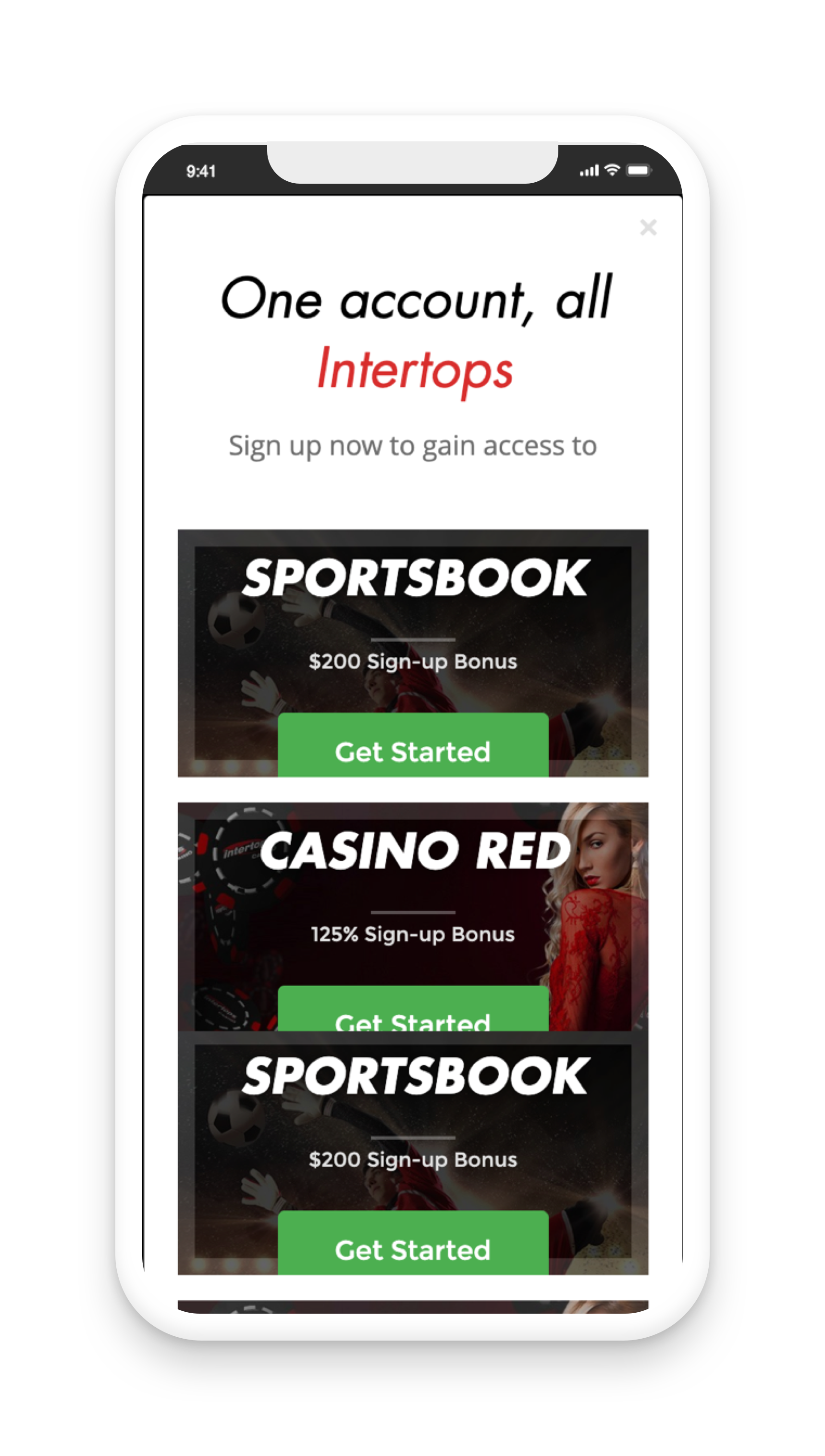 Intertops Account Screen
