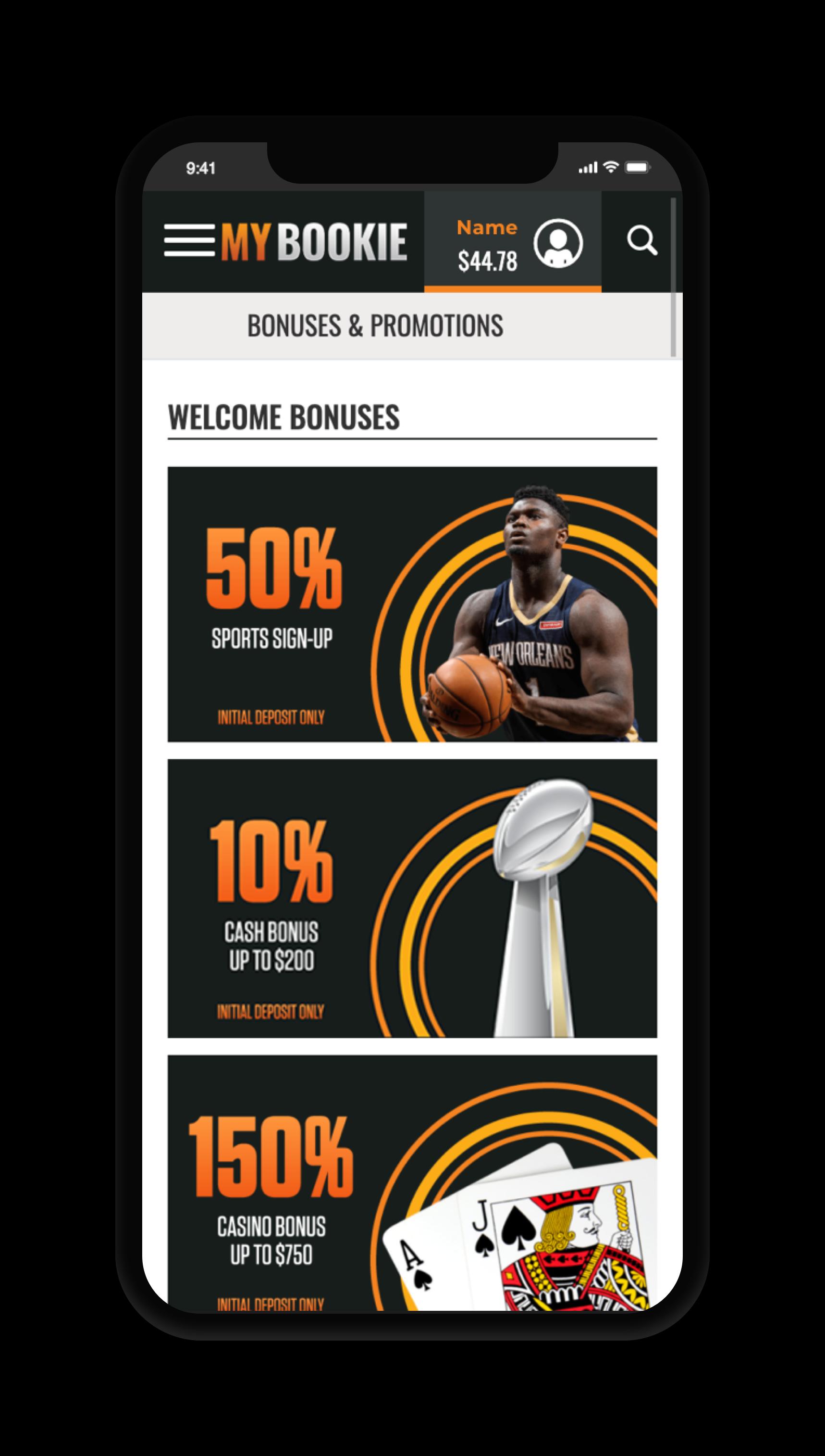 MyBookie Bonuses Screen