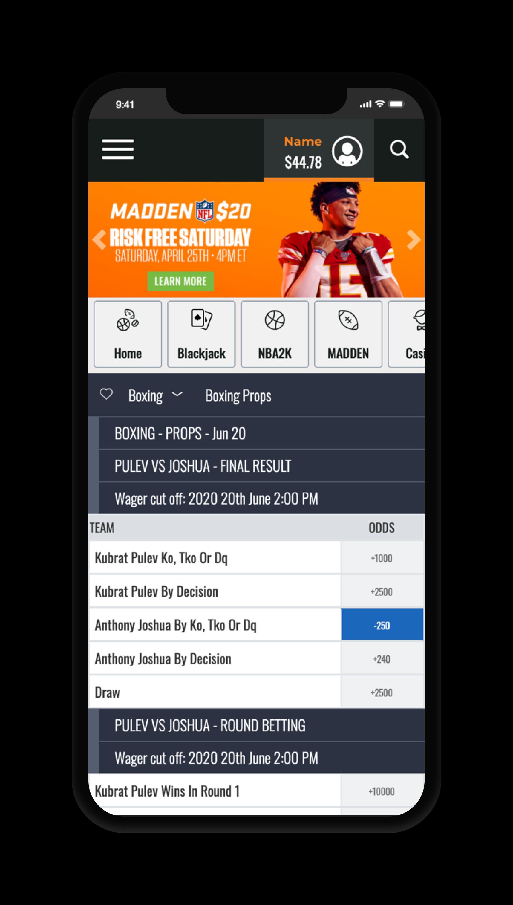 MyBookie Bet Screen