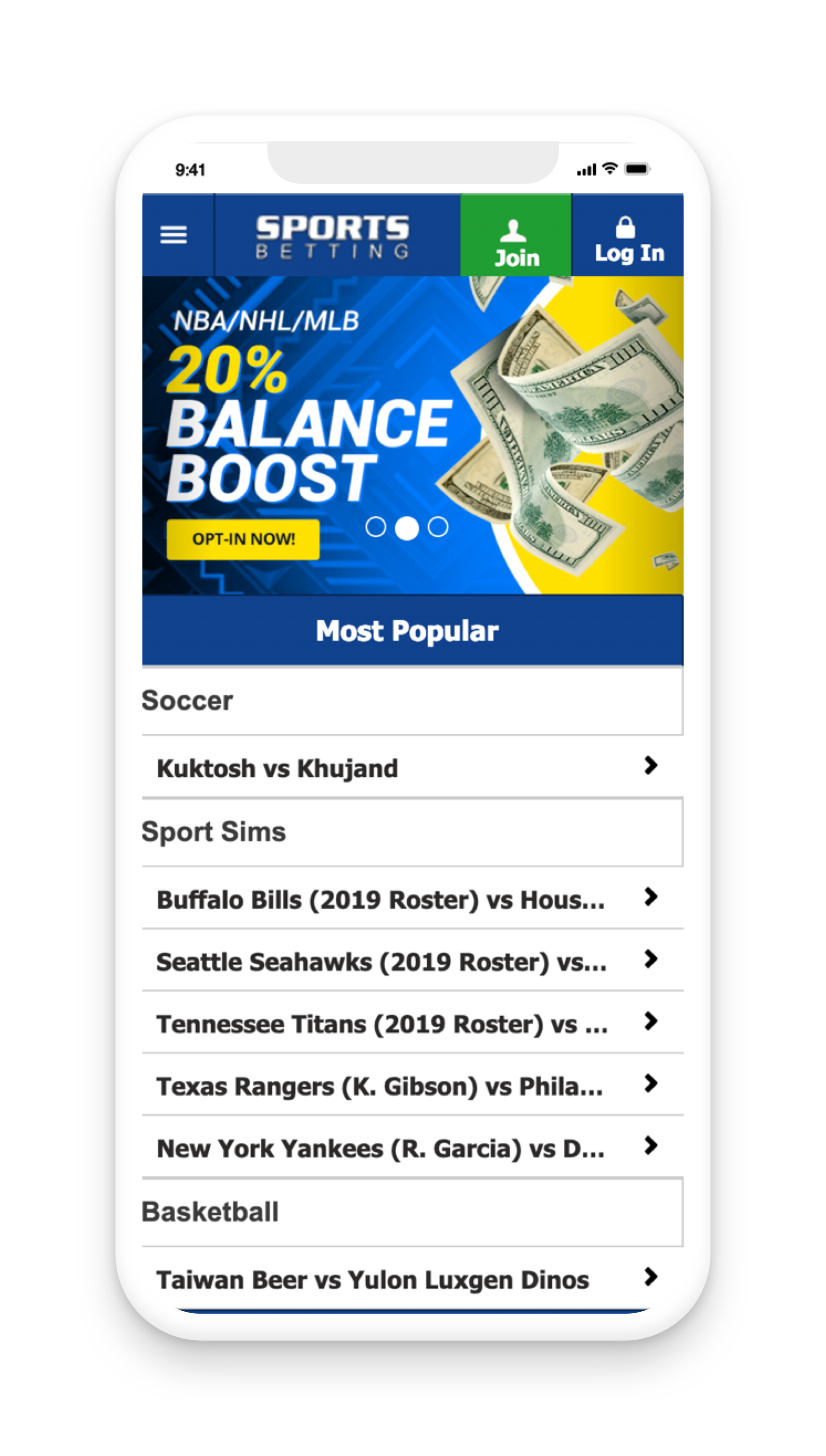 Sports Betting Account Screen