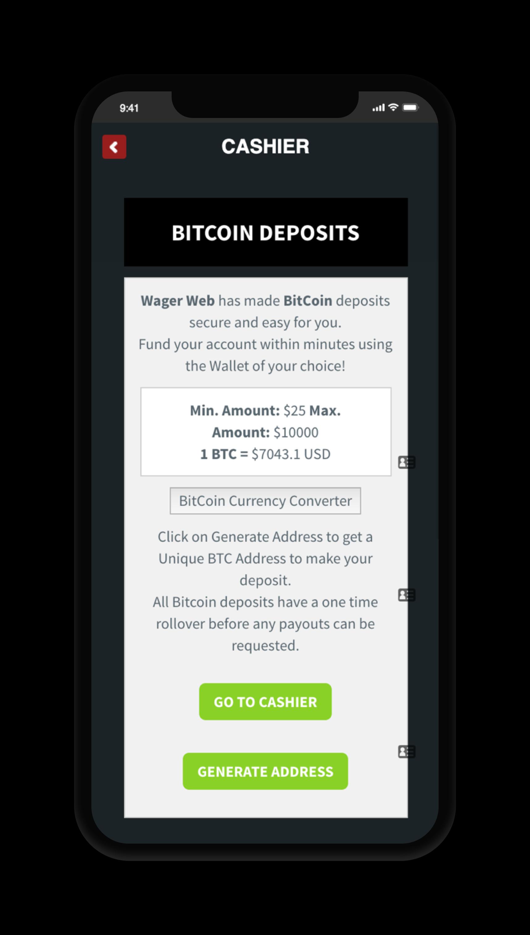 WagerWeb Deposit Screen